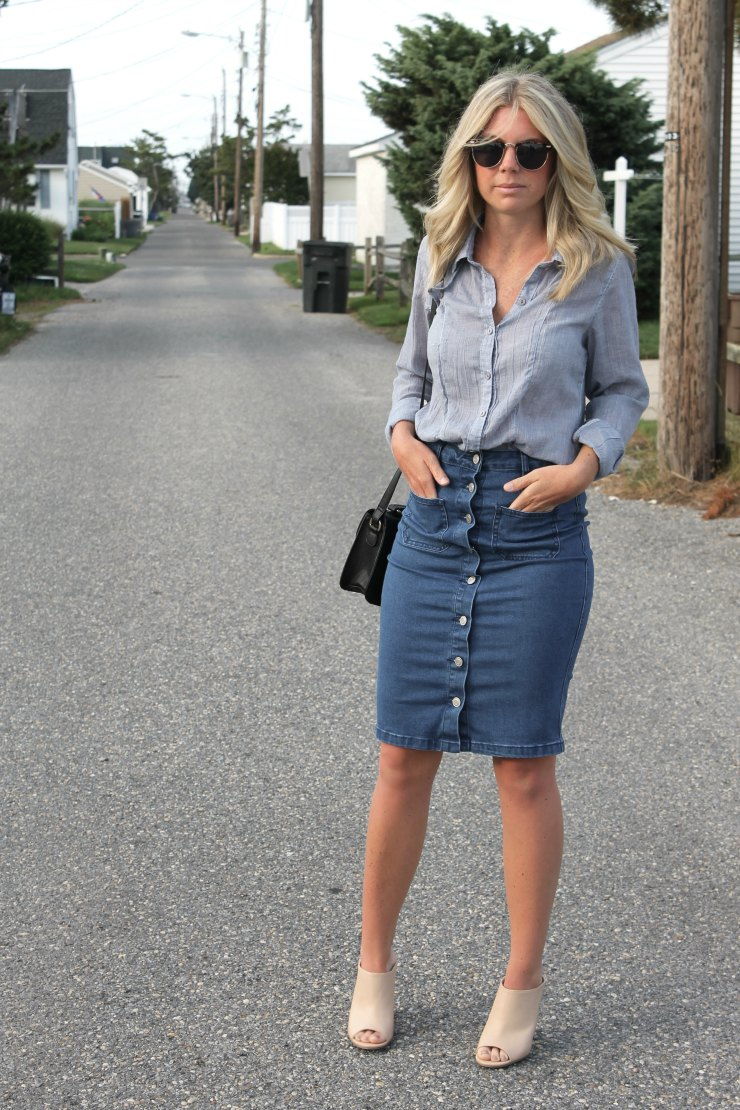 What to Wear | With a Denim Skirt - Not Another Blonde