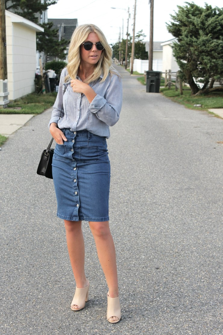 what to wear with a denim skirt not another