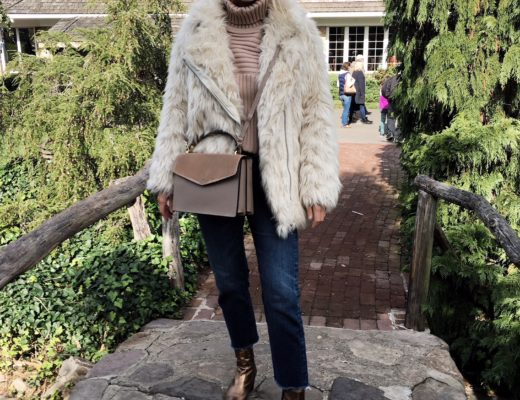blogger in faux fur jacket