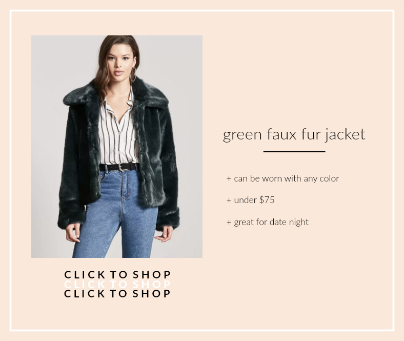 forever 21 green faux fur jacket