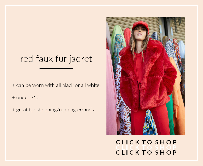 forever 21 red faux fur jacket