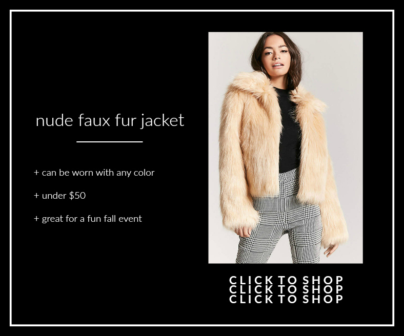 nude faux fur jacket forever 21